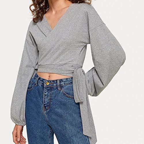 TianranRT♕ Frauen Langarm Shirt,Mode Frauen Sexy Langarm V-Ausschnitt Laterne Ärmel Lässige Bandage Lose Tops,Grau -