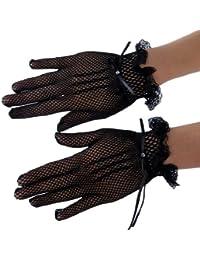 Topwedding gants de mariage en dentelle avec nœud papillon,Noir