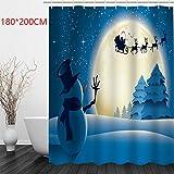 Weihnachts-Badezimmer-Duschvorhang, Weihnachtsmotive, Polyester-Stoff, wasserdicht und schimmelresistent, 180 x 180 cm, 180 x 200 cm, 18110#, 180 * 200cm