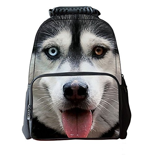 Bopopo Children's 3D Animal Printing School Tasche Laptop Rucksäcke Wandern Tagesrucksäcke Hai Wolfhund