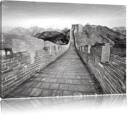 Grande Muraglia cinese Meraviglie su tela 100x70cm, Immagini XXL completamente incorniciate con grandi cornici di cuneo. Stampa artistica su quadro a parete con cornice. Più economico di pittura o di un dipinto a olio, non un manifesto o p