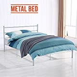 UEnjoy 4FT6 Double Bed Frame Metal Bed Silver¡