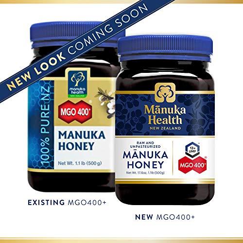 Manuka Health - Manuka Honig MGO 400+ 500g - 100{2bbf2fd3c5e372dea27fddd82b1bc987fac3e3ee8056a1bef75587088a01c89d} Pur aus Neuseeland mit zertifiziertem Methylglyoxal Gehalt