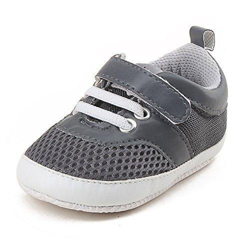 DELEBAO Baby Sneaker Babyschuhe Turnschuhe Krabbelschuhe Lauflernschuhe Mesh Atmungsaktiv Weicher Sohle für Baby Kleinkinder (Grau,12-18 Monate)