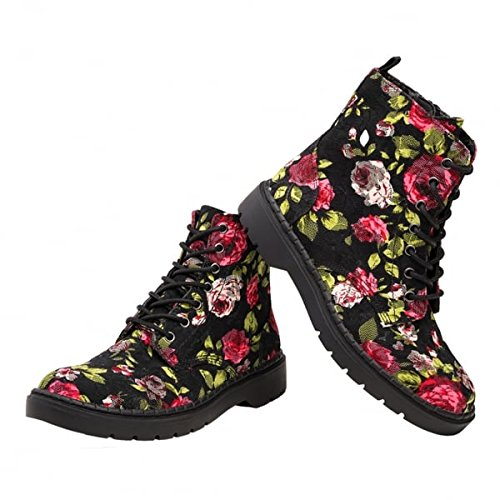 Eye Floral Lace K T Womens Shoes Red Boots 7 U Black Ealing qwOUxHa