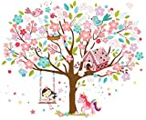 Kath & Cath Rainbow Unicorn, Pink Fairy, marzapane, Il Canto degli Uccelli e Fiori di ciliegio Albero Wall Stickers - Kids Girls Room Rimovibile in Vinile Autoadesivo murale Art Home Decoration