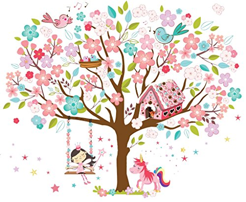 kath-cath-rainbow-unicorn-pink-fairy-gingerbread-house-singing-birds-and-cherry-blossoms-tree-wall-s