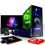 Fierce Maniac RGB Gaming PC Bundeln - Schnell 3.6GHz Quad-Core Intel Core i3 8100, 480GB SSD, 8GB 2666MHz, AMD Radeon RX 550 2GB, Tastatur (QWERTZ), Maus, 24-Zoll-Monitor, Lautsprecher 1066127