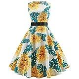Xmiral Damen Kleid Vintage Sleeveless O Hals Fliege Taille Rock Abend Plaid Printing Party Abendkleid (XXL,Weiß-3)