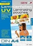Genie Laminierfolien (DIN A4, mit UV Schutz, 125 Micron, UV beständig - schützt vor Strahlung) 25er Pack
