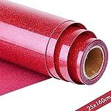 Topmail Rotolo di Vinile HTV Cristallo da 25x160cm a Trasferimento Termico Termoadesivo per Tessuti Magliette Vestiti Borsa Fai da Te Stampa a Caldo Heat Transfer Vinyl Rosso