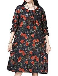 P Ammy Fashion Women s Plus Size Floral Wool-Cotton Blends Winter Jumper  Dress e0eadeae90c6