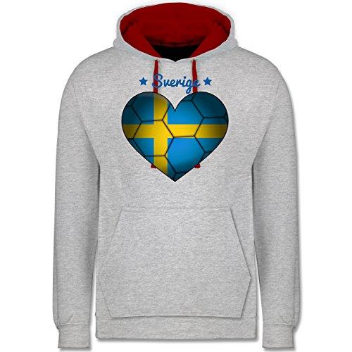 Handball - Handballherz Schweden - Kontrast Hoodie Grau Meliert/Rot