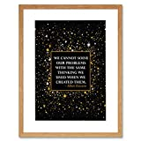 Einstein Quote We Cannot Solve Problems Motivation 9x7'' Framed Print F97x13967