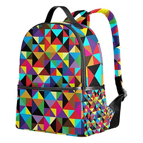 Ahomy Schulrucksäcke Retro-Geometrische Dreiecksform bunt Memphis Rucksack Schultertaschen für Mädchen Jungen