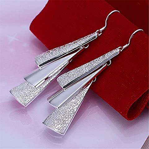 Shina 1 pareja elegante 925 plateado con tres hojas de aguja de pedientes para Mujer damas Regalos