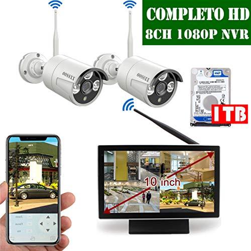 【2019 Nuovo】Kit Sorveglianza Telecamera 8 Canali Di Sorveglianza Wireless Esterno, Videosorveglianza WiFi Esterno 1080P, Monitor LCD da 10' 2 x 1080P Videosorveglianza IP67 Camera, 1TB Disco Rigido