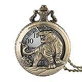 Orologio da tasca uomo, vintage Tiger Hollow design uomo stile chic bronzo orologio da tasca al quarzo con catena, regalo per uomo
