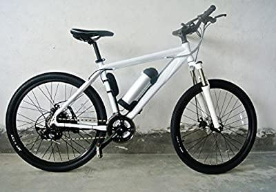 ELECYCLE 250W Electric Bicycle 26 Inch Hardtail Mountain Bike with Lithium Battery and LCD Display in White
