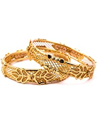 Elegantly Carved Gold Plated Bangle With Charming Butterfly Design For Women And Girls (SB6002)