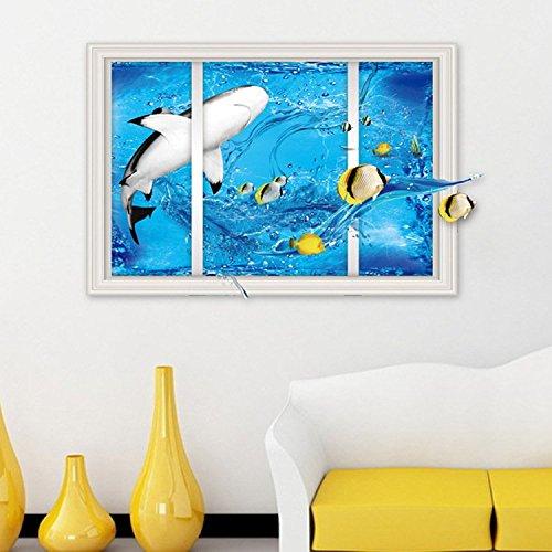 TIEZ Neue gefälschte Fenster Wand Aufkleber Hai entfernt Hintergrund Dekoration Wohnzimmer Schlafzimmer Wandsticker, dlx9226-60 * 90