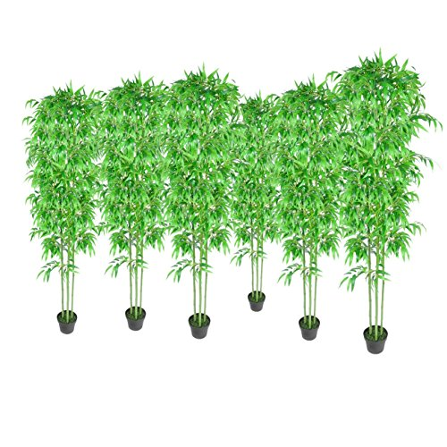BAMBU PLANTAS ARTIFICIALES HOGAR DECORACION SET DE 6