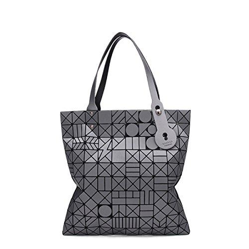 Geometrisch Reim Tasche Mädchen 2017 Falten Große Kapazität Handtasche Weiblich Persönlichkeit Einfach Stilvoll Mehrfarbige Große Kapazität Lässig Tasche Gray