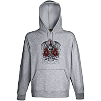 Winged Demon Skull On Fire Red Roses Sword Hoodie Custom Made Hooded Sweatshirt