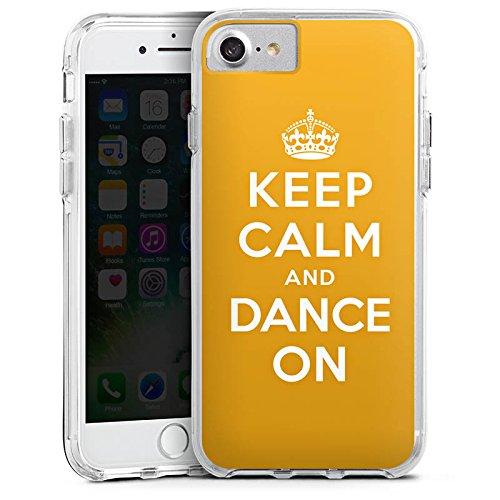 Apple iPhone 7 Bumper Hülle Bumper Case Glitzer Hülle Keep Calm Tanzen Dance Bumper Case transparent
