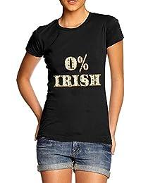 TWISTED ENVY 0% Irish ST Patrick's Day Shamrock Irish Flag Women's Novelty Cotton T-Shirt