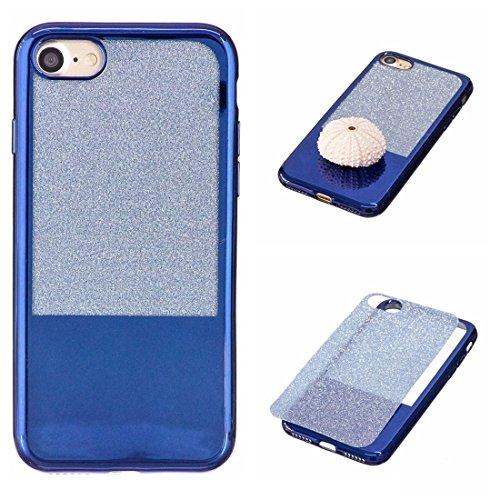 Wkae Galvanisierungsspiegel TPU Schutzhülle für iPhone 7 ( Color : Black ) Blue
