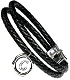 Lufetti® Lederarmband Love mit Buchstaben Namen Initialen, echtes Leder schwarz (C)