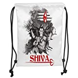 ZKHTO Drawstring Sack Backpacks Bags,Ethnic,Religious Figure of Ethnic Religion Holding Trident Red Eye on Stripes Artistic,Grey Red White Soft Satin,5 Liter Capacity,Adjustable String Closur