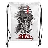 ZKHTO Drawstring Sack Backpacks Bags,Ethnic,Religious Figure of Ethnic Religion Holding Trident Red Eye on Stripes Artistic,Grey Red White Soft Satin,5 Liter Capacity,Adjustable String Closur