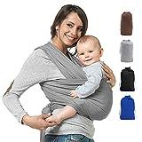 Premium Babytragetuch | Elastisches Babytrage | 100% Baumwolle | Baby Wrap Sling für Neugeborene und Kleinkinder | inkl. Trageanleitung | Ohne Künstliches Elastan | Von Future Founder (Grau)
