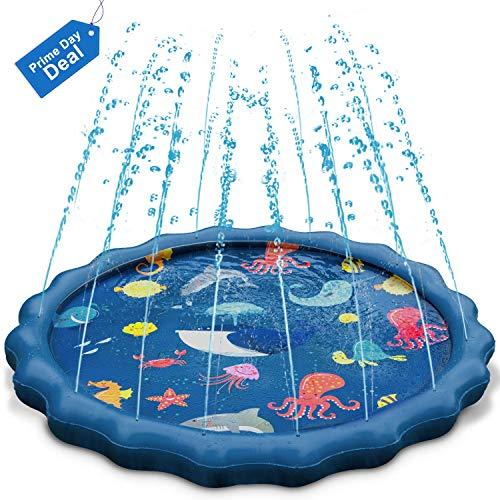 Uiter Sprinkle und Splash Spielmatte, Blau Aufblasbare Sprinkler-Matte, Sommer/Outdoor Spritz-Spielzeug für Kinder/Haustiere |150 cm