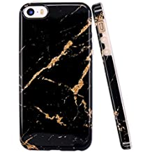 JIAXIUFEN TPU Gel Silicone Protettivo Skin Custodia Protettiva Shell Case Cover Per Apple iPhone 5/5S/SE - Black Gold Marmo Design