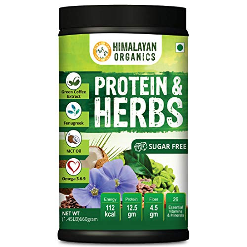 Himalayan Organics Protein & Herbs, Whey Protein with Green Coffee Beans Extract, Omega 3-6-9, MCT Oil & 27 Essentials Vitamins & Minerals - 20 Servings - 0g added sugar (Strawberry)