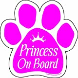 Imagine This 5-1/2-Inch by 5-1/2-Inch Princess on Board Paw Car Magnet, Pink