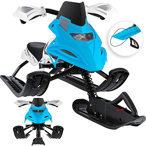 Kesser® Lenkschlitten mit 2 Fußbremsen | Automatisches Zugseil | Federung | Kufenlenkung | Bob Kinderschlitten Rodel Schlitten | Skiboblenkschlitten | Blau