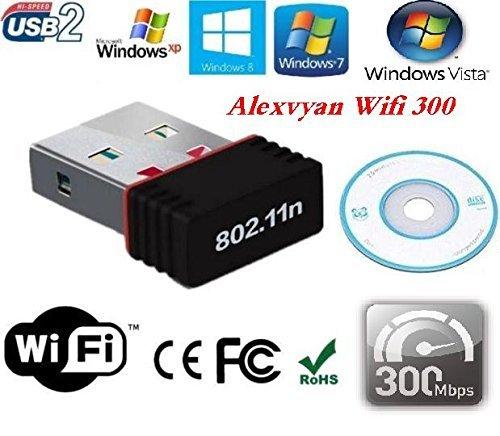 AlexVyan-Mini Wi-Fi Receiver 450 Mbps with Installation CD & Driver Link,2.4GHz, 802.11b/g/n USB 2.0 Wireless Wi-Fi for Windows XP,Windows7 & more