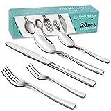 Heim & Elda utensilios de acero inoxidable de 20 piezas vajilla y cubiertos Vajilla y cubiertos Set de cuchillos para