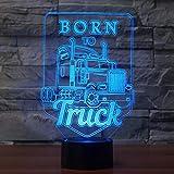 Acryl Nachtlicht Geboren, Lkw-3D Geführtes Nachtlicht Führte Bunte Acryllichter-Hologramm-Kindertischlampe-Atmosphäre Usb Geführtes Helles Licht