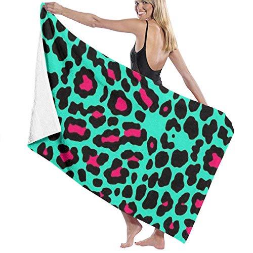 xcvgcxcvasda Serviette de bain, Bath Towels, Cheetah Mint Green Leopard Hand Towels 100% Polyester Yoga Towel Highly Absorbent Body Towel Quick Drying Bath Sheets for Home Hotel Spa &pnd;¨