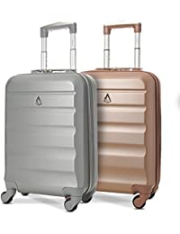 Set of 2 Aerolite 55cm ABS Hard Shell Carry On Hand Cabin Luggage Suitcase