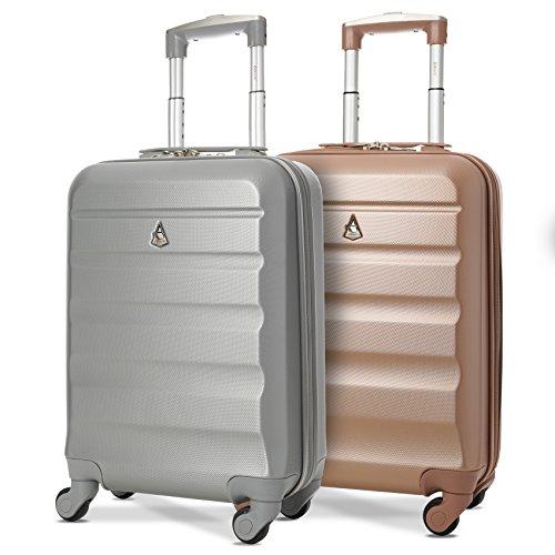 Aerolite ABS Bagage Cabine à Main Valise Rigide Léger 4 Roulettes, Set de 2 (Rose Or + Argent)