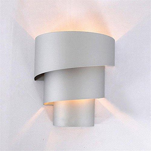 Z&MDH Einfache LED-Leuchten, Eisen Gang Wandleuchte, Schlafzimmer Bett Leselampen, Kinderzimmer Dekoration Wandleuchte, Silber, Durchmesser 20cm, hoch 18cm (ohne Glühbirne)
