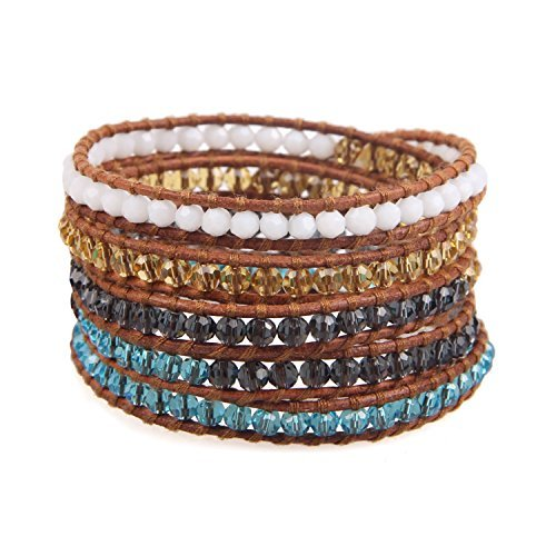 KELITCH Crystal Beads Mixed Leather 5 Wrap Bracelet Handmade Memory Wire Bracelet (Crystal Wire Armreif)