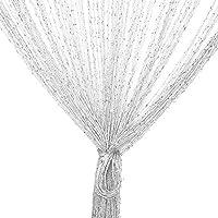 TRIXES Panel Cortina Cadena/Hilo Gotas de Rocío Blancas y Plata - 90 x 200 cm - Cortina de la Puerta - Le Ayudará a Mantener Alejadas Las Indeseadas Moscas