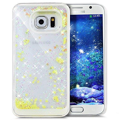 Für Samsung Galaxy S6 Edge Hülle,Galaxy S6 Edge Hülle Bling Glitzer Kristall Strass Diamant Spiegel Hülle,EMAXELERS Galaxy S6 Edge Case Cute Lovely Bär Ring Holder Weich TPU,Galaxy S6 Edge Hülle Silik Liquid 3